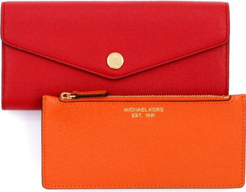 Michael Kors Saffiano Leather Color Block Wallet Mandarin Red Http Handbagscouture Net Brands Michael Kors Michael Ko Saffiano Leather Michael Kors Leather