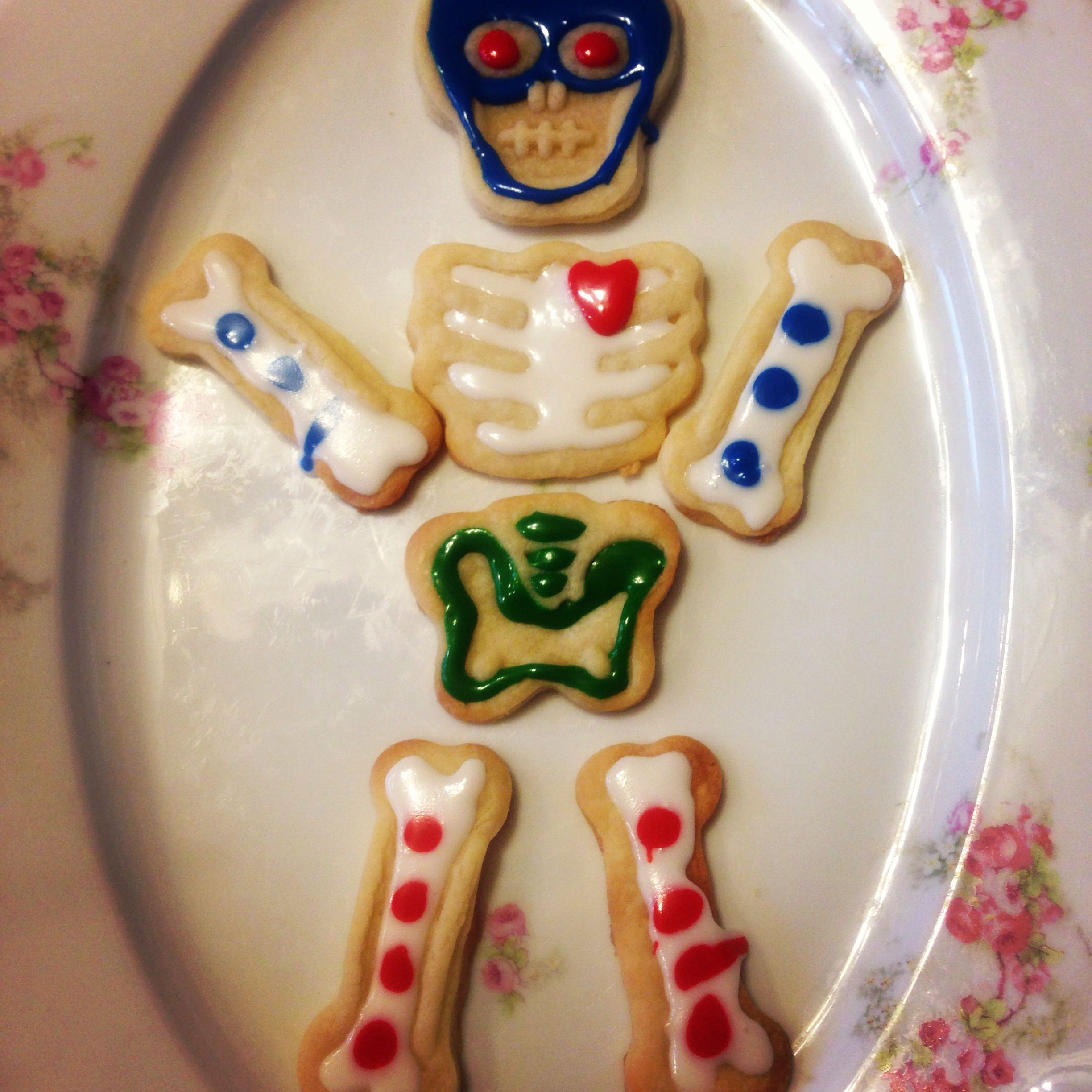 My skull cut out cookies with frosting!