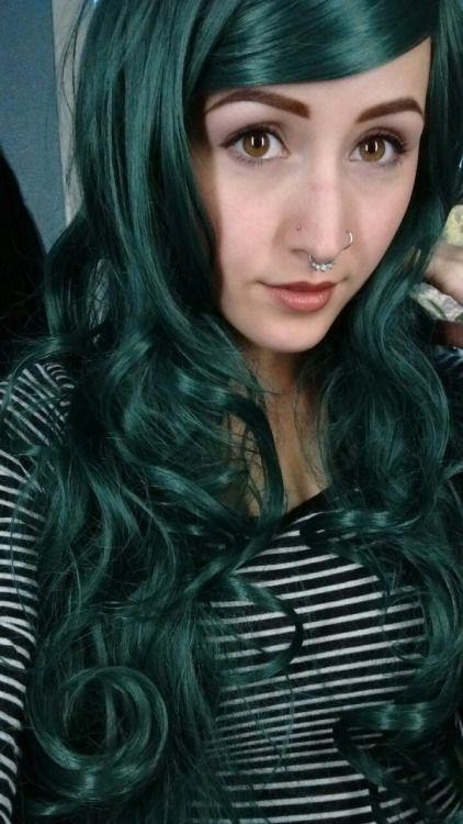 Dark green hair | Hair dye ideas | Dark green hair, Dyed ...