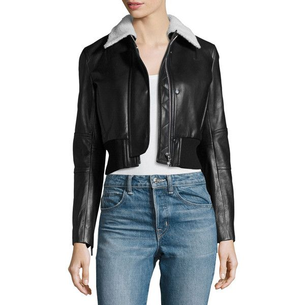 Helmut Lang Cropped Lamb Leather Jacket (33,130 MXN) ❤ liked on Polyvore featuring outerwear, jackets, black, lamb leather jacket, cropped jacket, fleece-lined jackets, long sleeve jacket and fur collar jacket