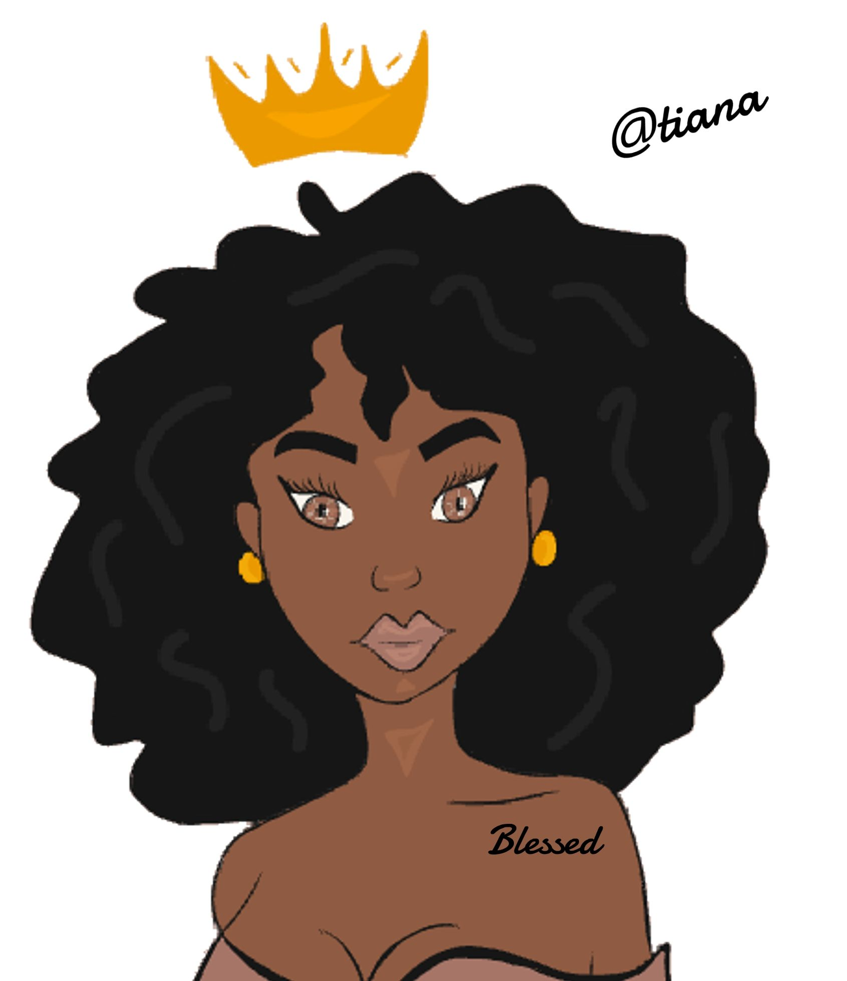 Black Queen black queen crown blessed african illustration
