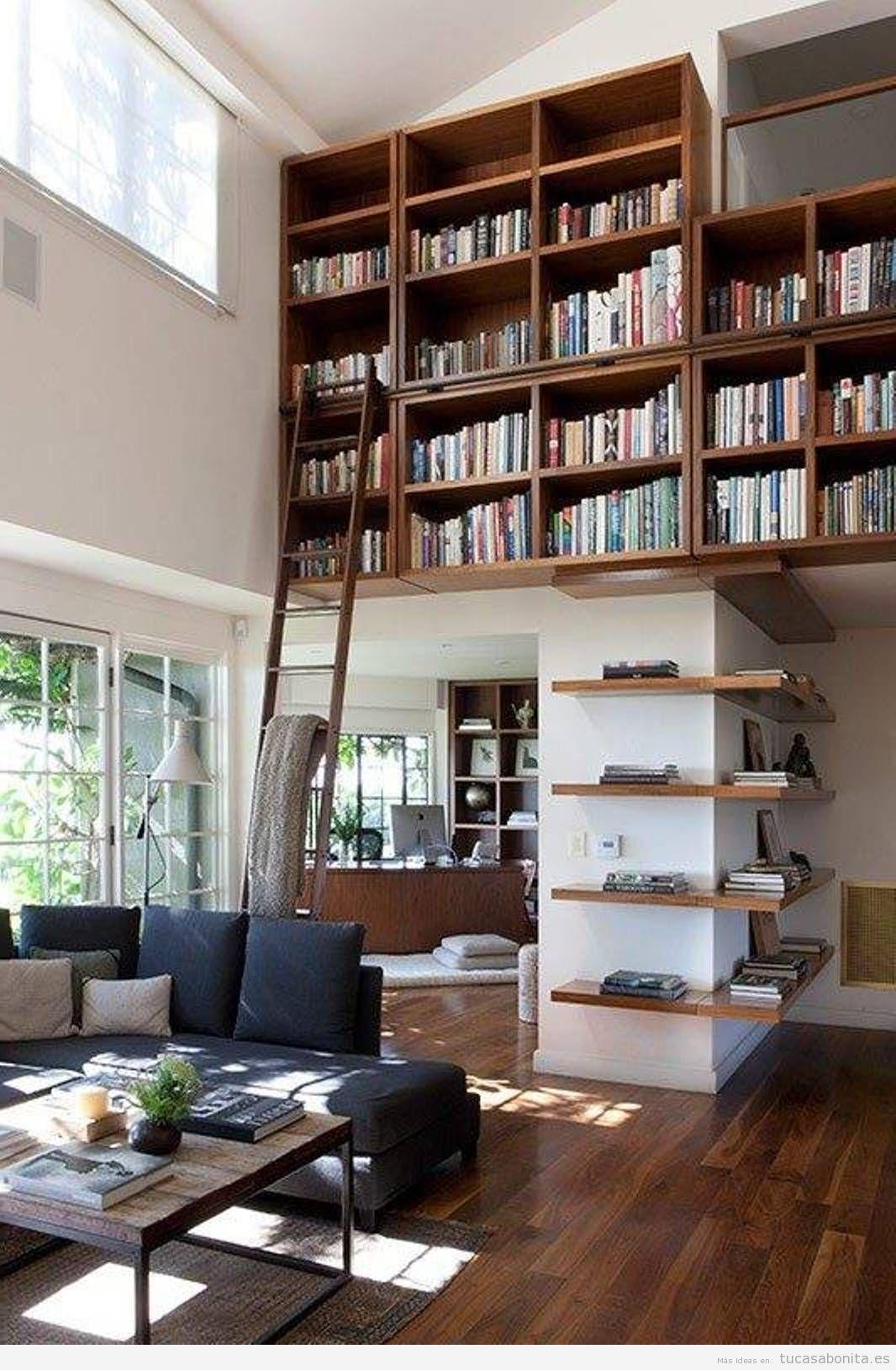bibliotecas con escalera en casa