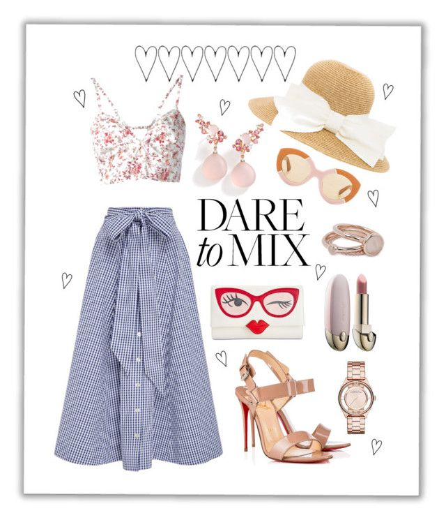 """""""Summer #27 - """"DARE to MIX"""""""" by sammers-i ❤ liked on Polyvore featuring Lisa Marie Fernandez, Etro, Christian Louboutin, Kate Spade, Lola Rose, Brumani, Guerlain, Marc by Marc Jacobs and Karen Walker"""