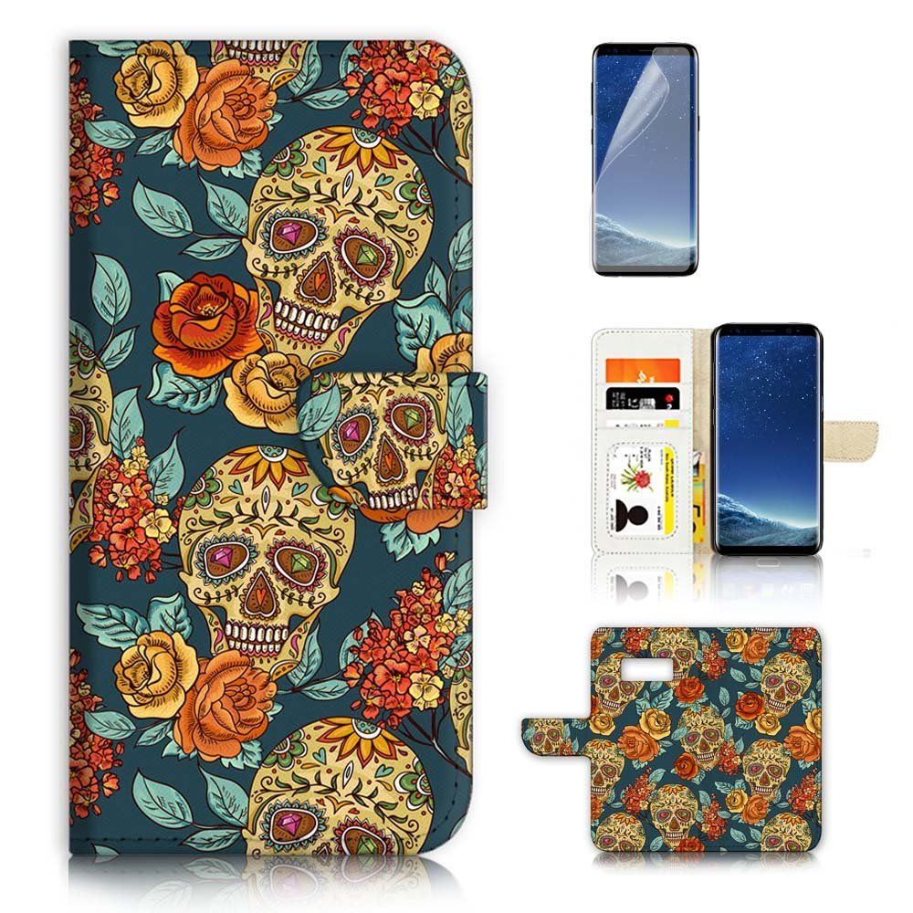 Samsung Galaxy S8 Flip Wallet Case Cover Screen Protector Bundle Goospery J3 2017 Pro Canvas Diary Orange A20267 Sugar Skull