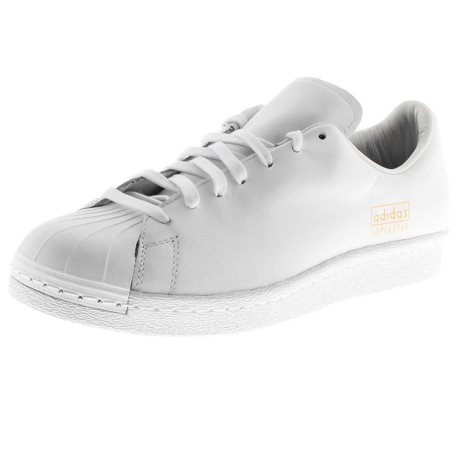 Adidas Originals Superstar 80s Clean Trainers In White, Full front lace  fastening in white with