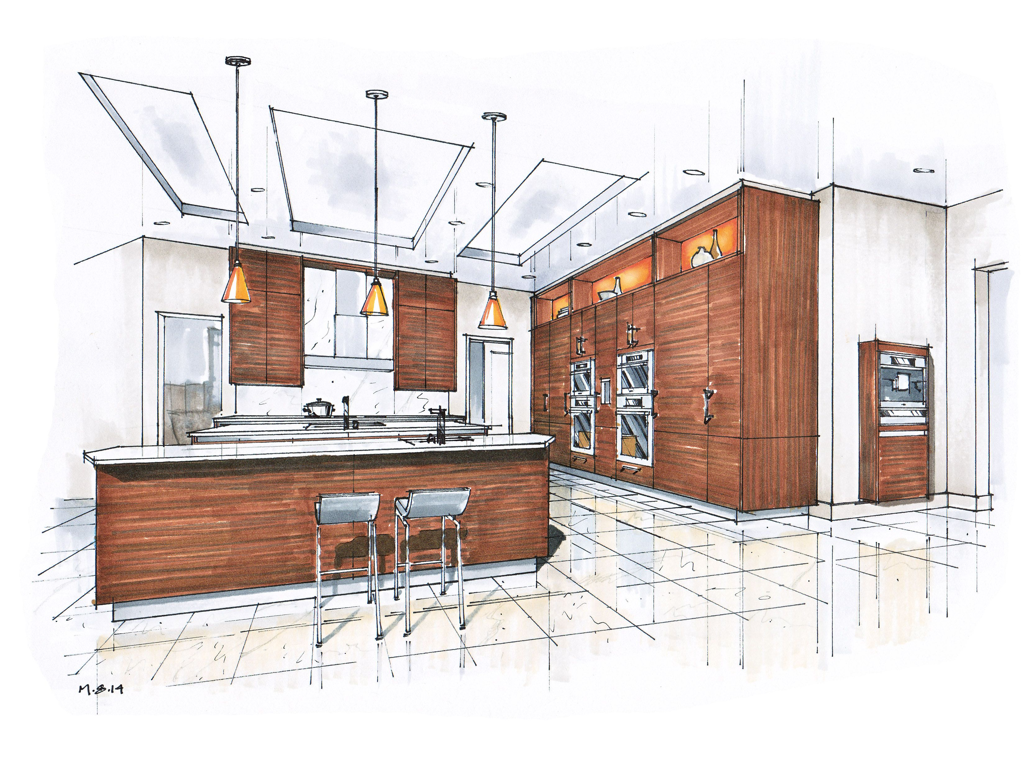 Manual Rendering / Architecture Interior - Speed Drawing ...  |Interior Design Color Sketches