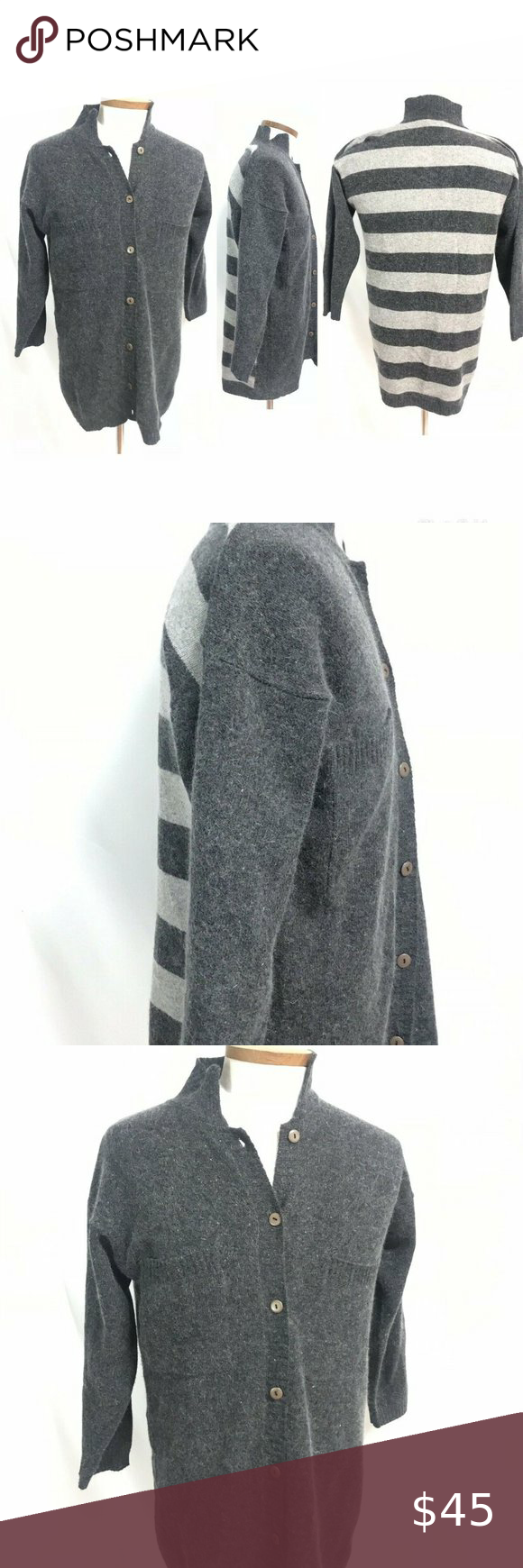 Qui Designer Collection men's striped sweater Size Medium   Measurements in inches  Total length: 32  Armpit to armpit: 22  Waist around: 40  Sleeve length: 20 (slight drop shoulder design)  (For store use only: Bin#054)    Additional characteristics: Angora and Lambswool. Striped. Button up. Chest pockets. Stripes on back. Qui Designer Collection Sweaters