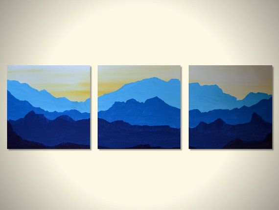 Blue Mountains Large Original Triptych Landscape Painting Wall Art Blue Yellow White Nursery Office Home Decor 3 Canvas 12 X 12 Wall Art Painting Triptych Art Three Canvas Painting