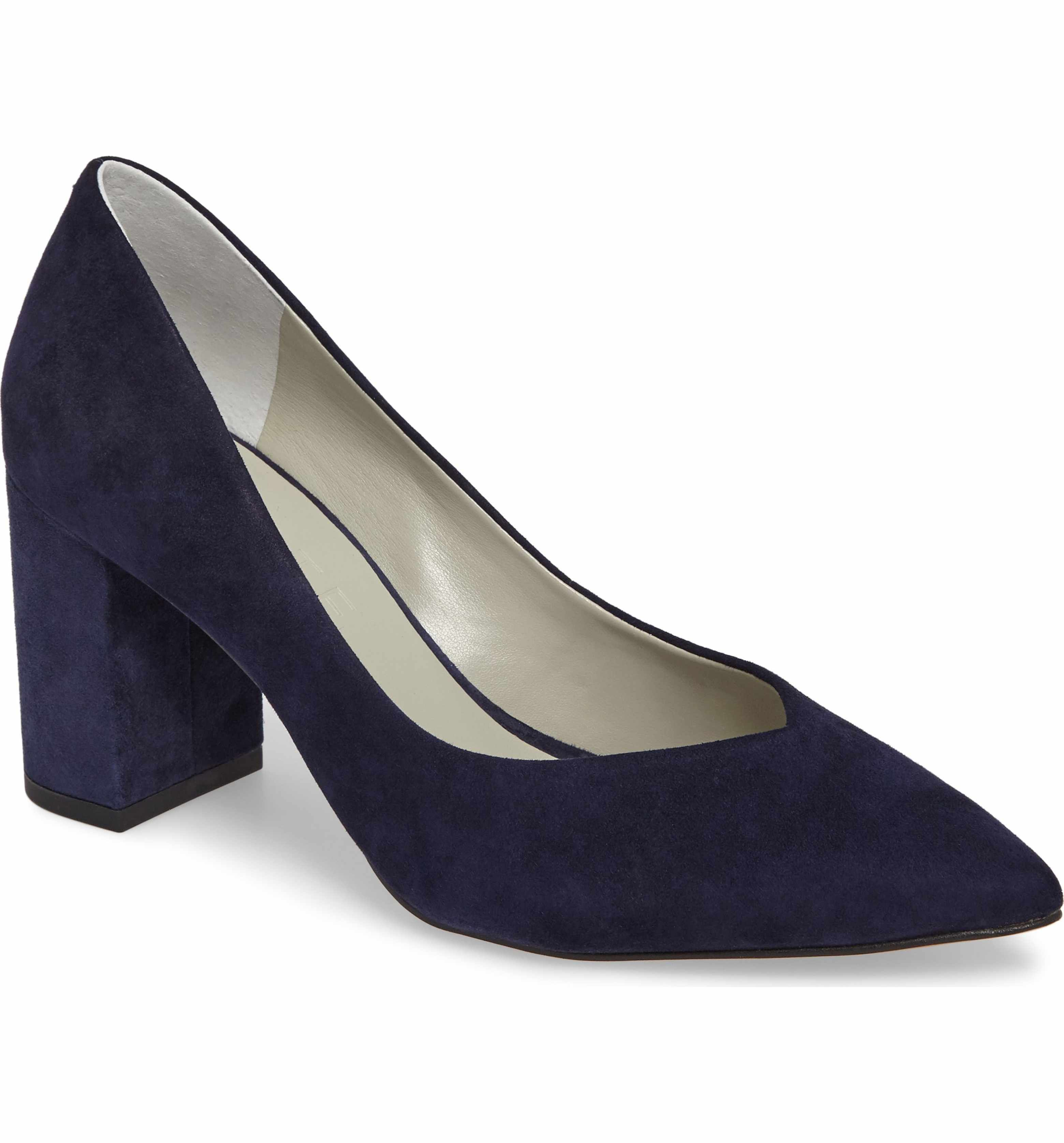 navy suede block heel pumps