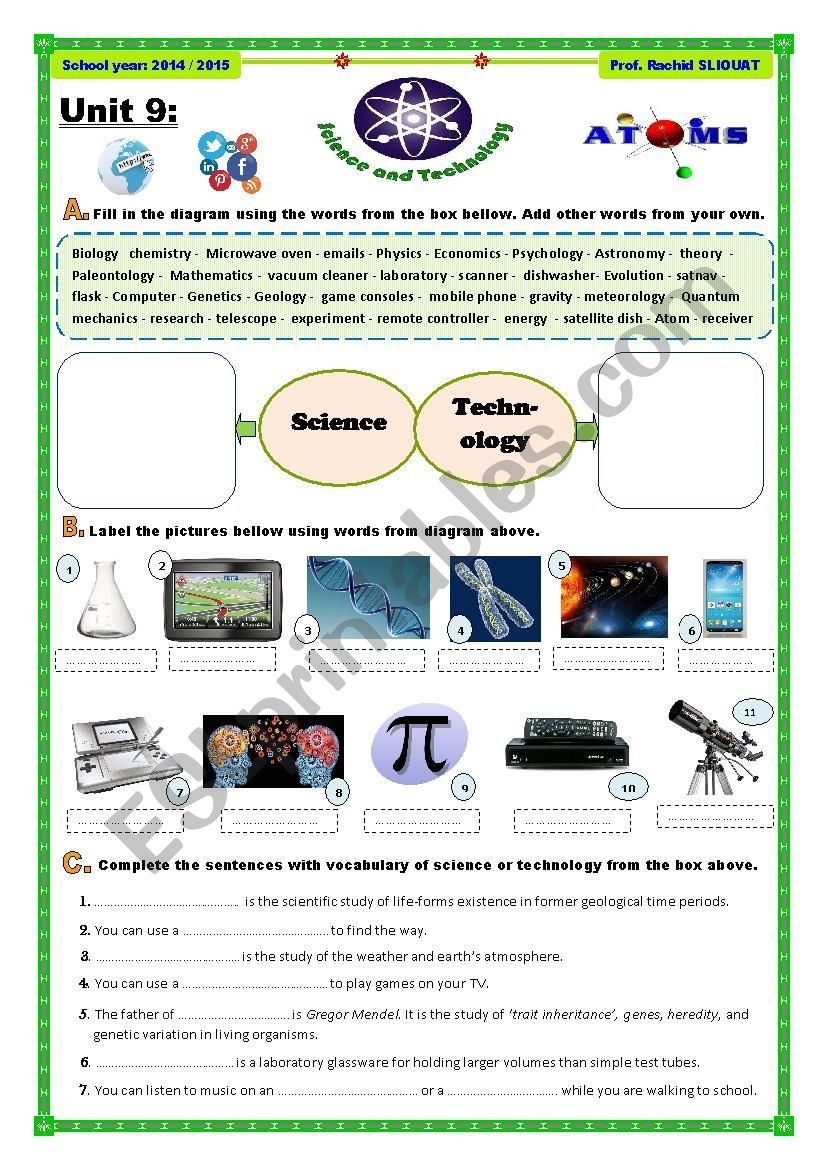 Science And Technology Worksheet Science And Technology Science Esl Worksheets