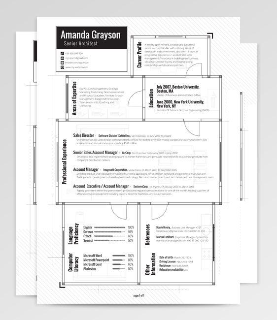 Eridani u2013 Resume Template on Behance graphic_ cv\portfolio - senior architect resume