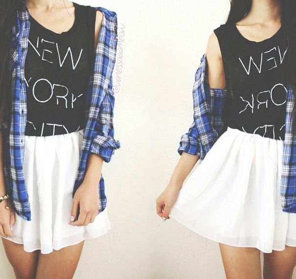New York City shirt, with blue flannel and a white skirt