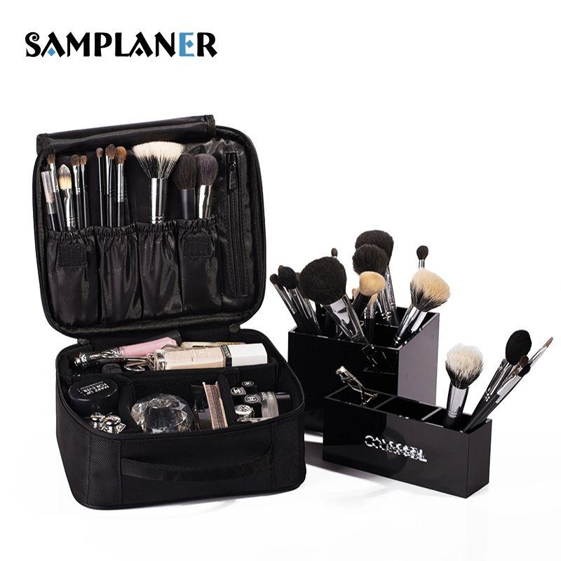 Samplaner Professional Cosmetic Bag Brush Penalty Beauty Case Zipper Black  Organizer for Cosmetics Wash Travel Makeup db5d07068d34e