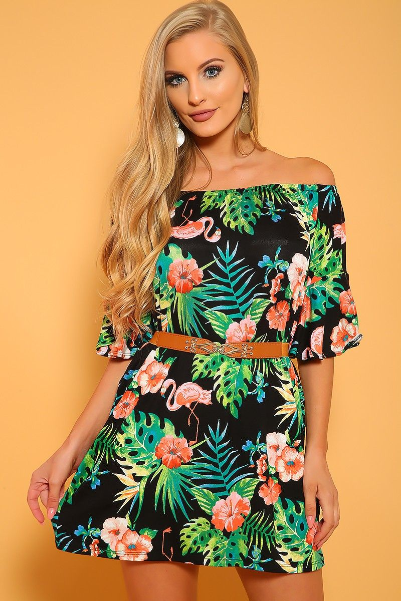 3f0c56b3b3 Sexy Black Green Off The Shoulder Printed Casual A-Line Dress in ...