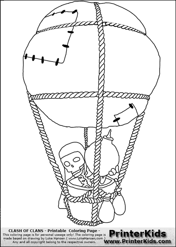 Clash Of Clans Balloon Coloring Page Mercural