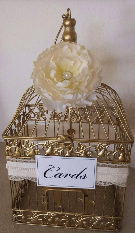 Lace and Pearls-Peony-Gold Bird Cage-Customized Wedding card