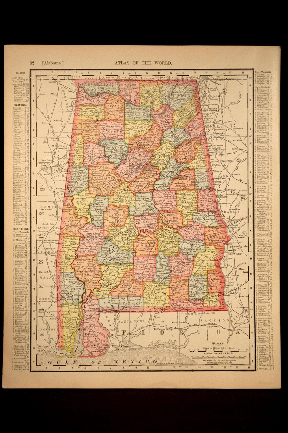 Antique Map Alabama Early 1900s Original 1906 Detailed