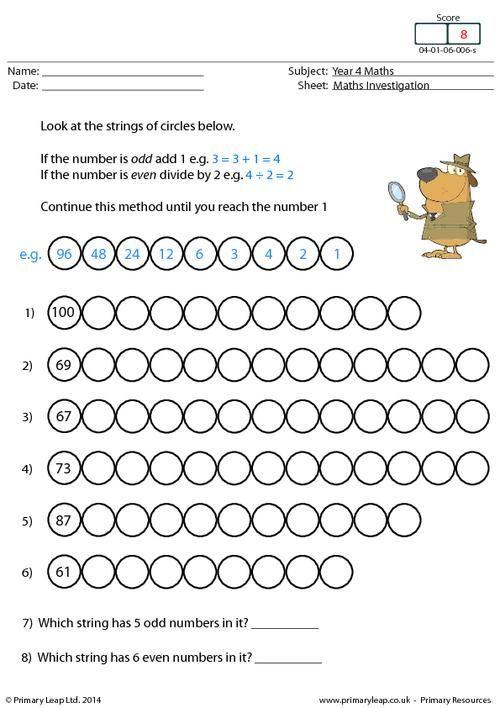 Primaryleap Co Uk Investigation 6 Number Strings Worksheet Free Worksheets For Kids Maths Investigations Worksheets For Kids Free maths worksheets for year uk