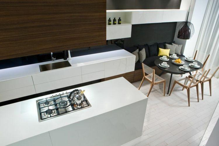 esszimmer sitzbank kücheninsel-tisch-rund-dekokissen-arbeitsfläche - esszimmer mit sitzbank
