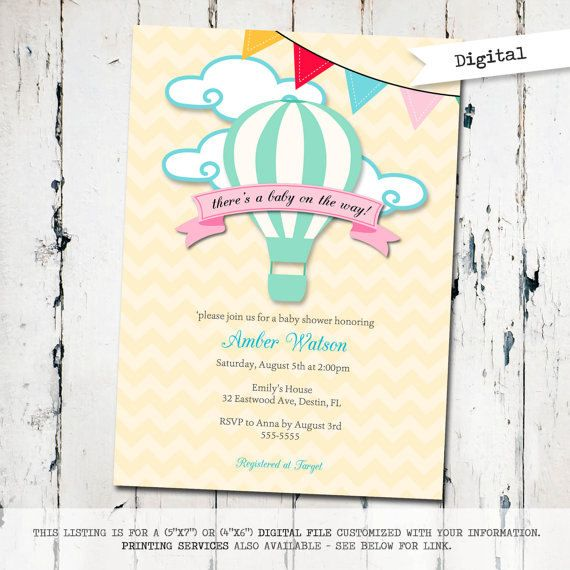 Baby elephant and hot air balloon baby shower invitation Eventos - how to make a baby shower invitation on microsoft word