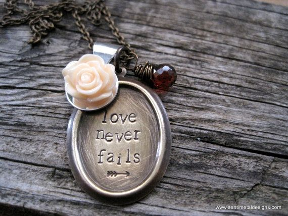Love Never Fails Hand Stamped Necklace by sentimetaldesigns, $37.00