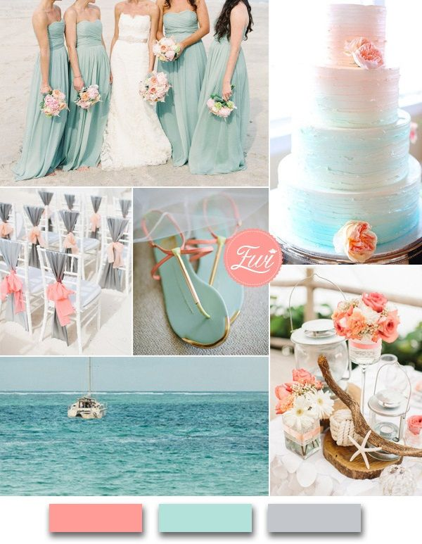 Best Beach Wedding Color Palettes Of Coral And Aqua Beach Themed