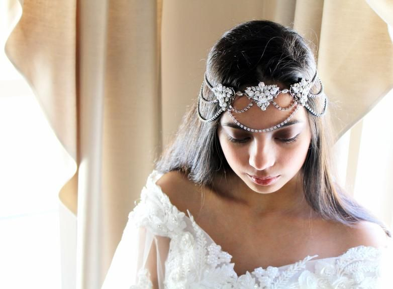 Bridal Forehead Band With Swarovski Crystals Hair Chain Juliet