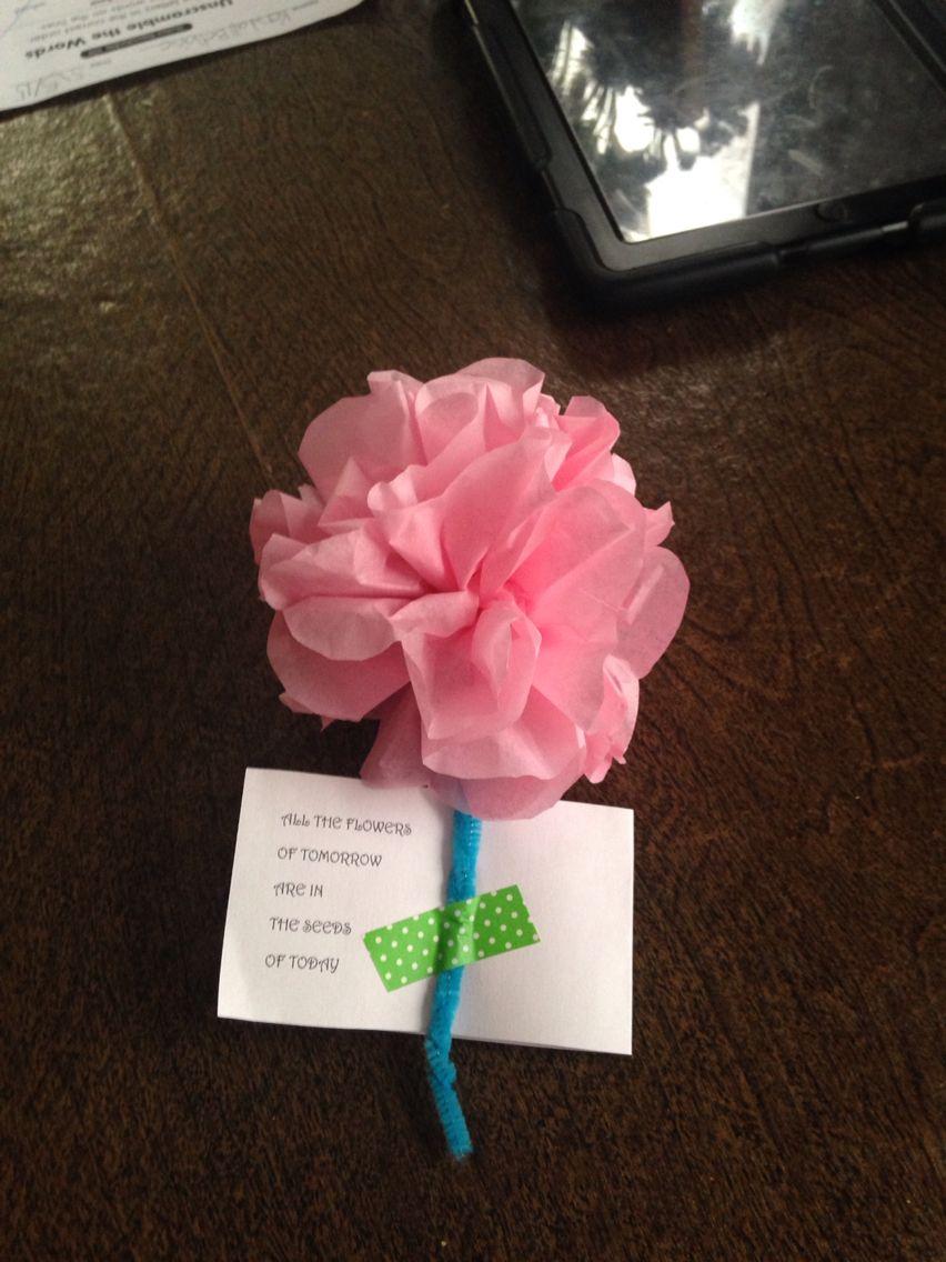 Teacher Appreciation Week Home Made Flowers Tissue Paper Flowers