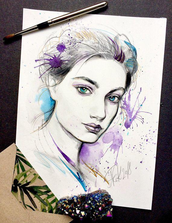 Fashion Illustration Original Watercolor And Graphite Artwork