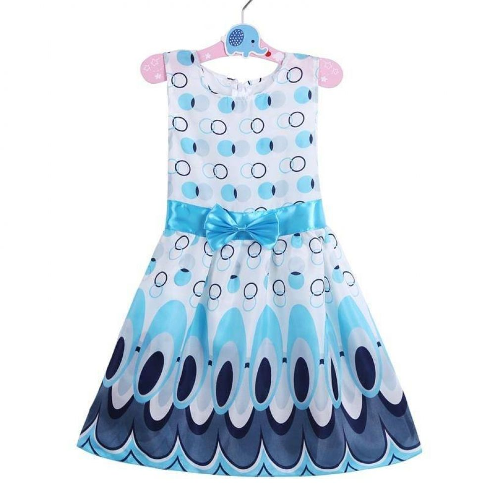 Summer Kids Girls Bow Belt Sleeveless Bubble Peacock  A-Line Dress Party Outfit