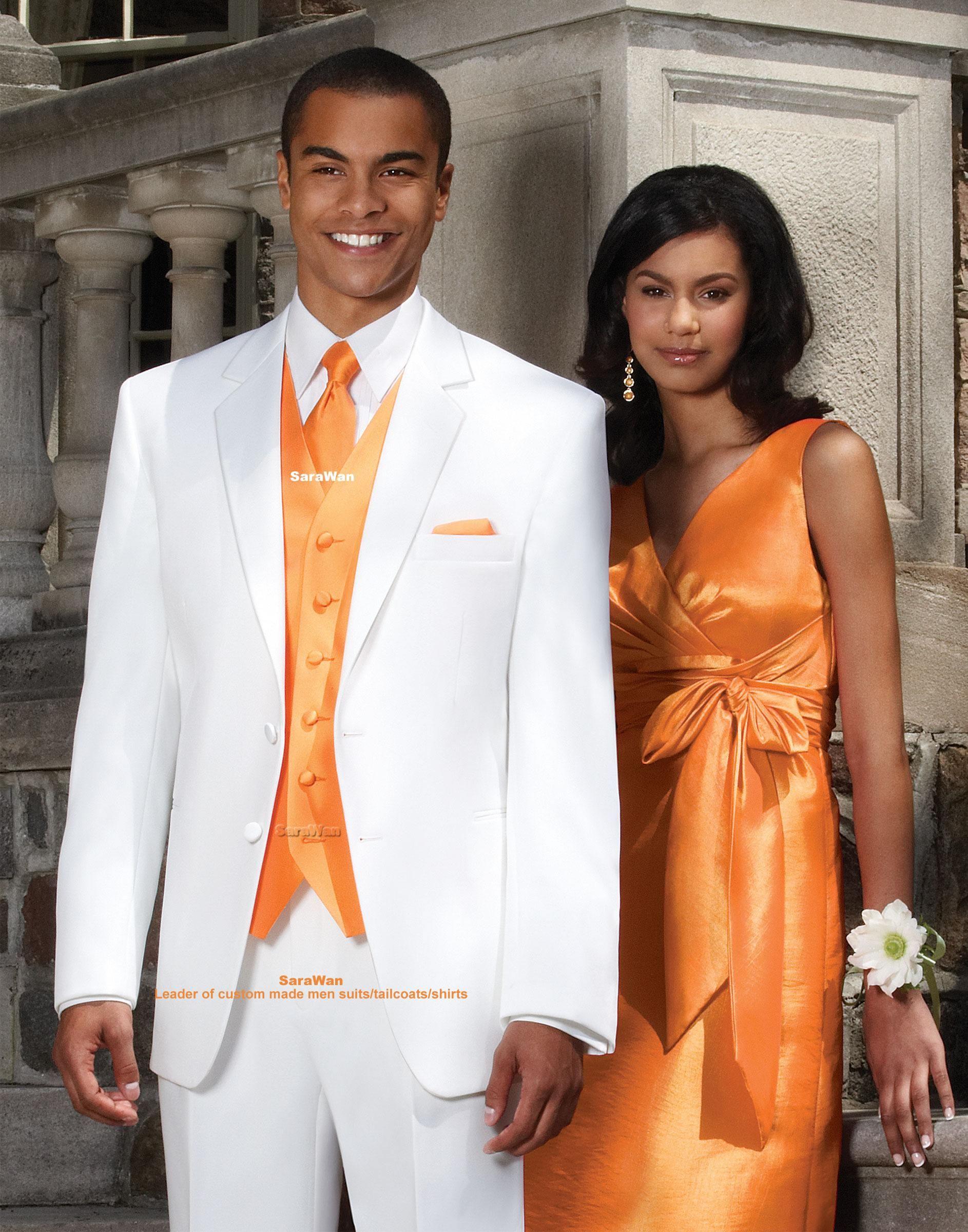 Custom Made Groom Tuxedo, Bespoke White suits with orange vest ...
