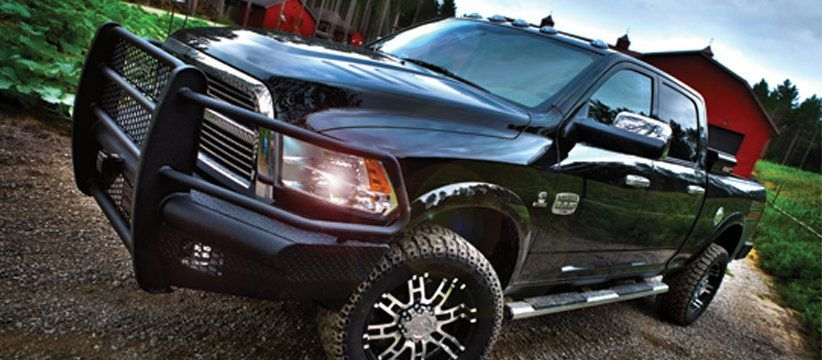 Texas Ranch Hand Bumpers : A rhino lined ranch hand legend front bumper on black