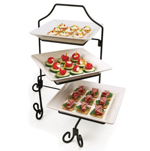 Three Tier Appetizer Stand Tiered Serving Platters Serving