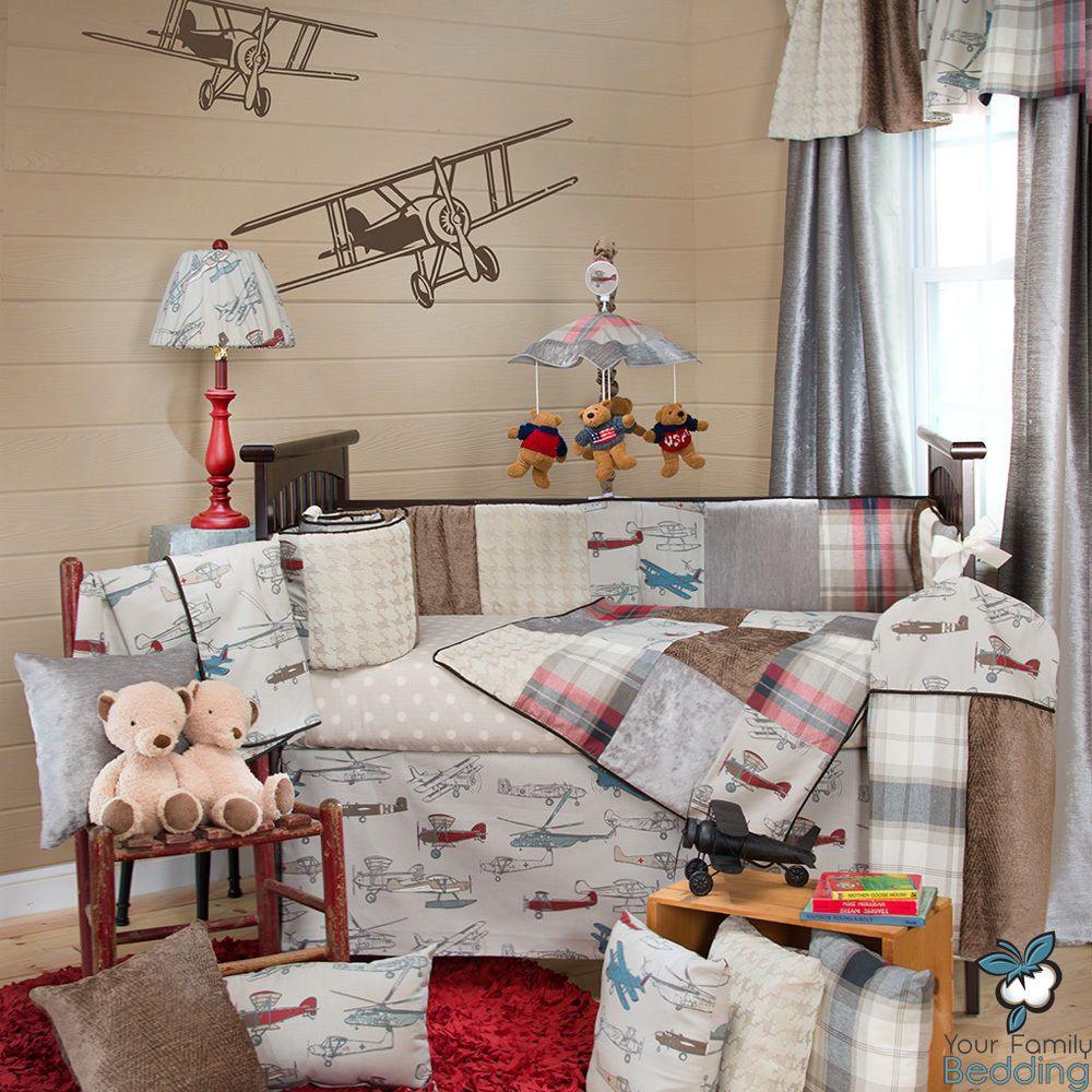 Baby Boy Vintage Air Plane Aviator Theme Infant Crib Nursery