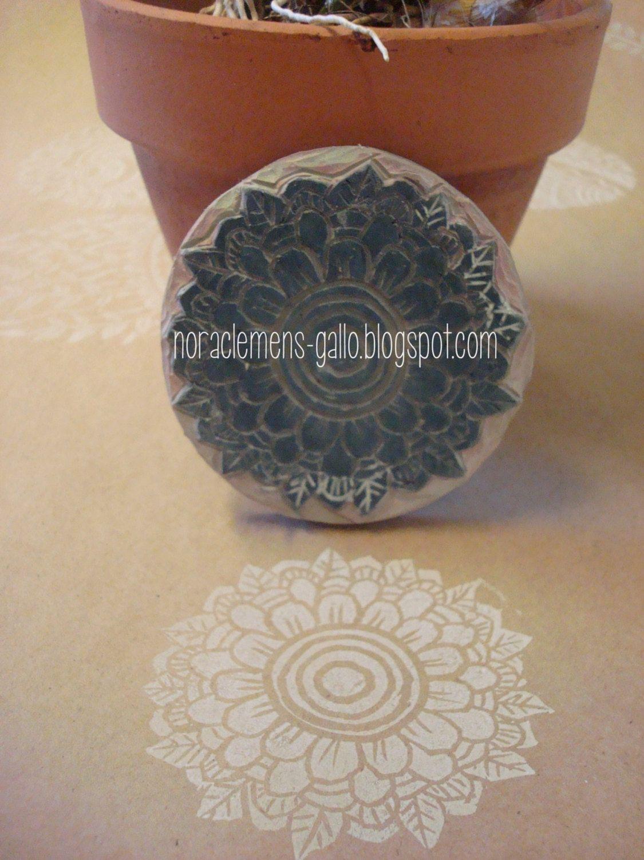 Hand made original stamp Flor Negra. $18.00, via Etsy.