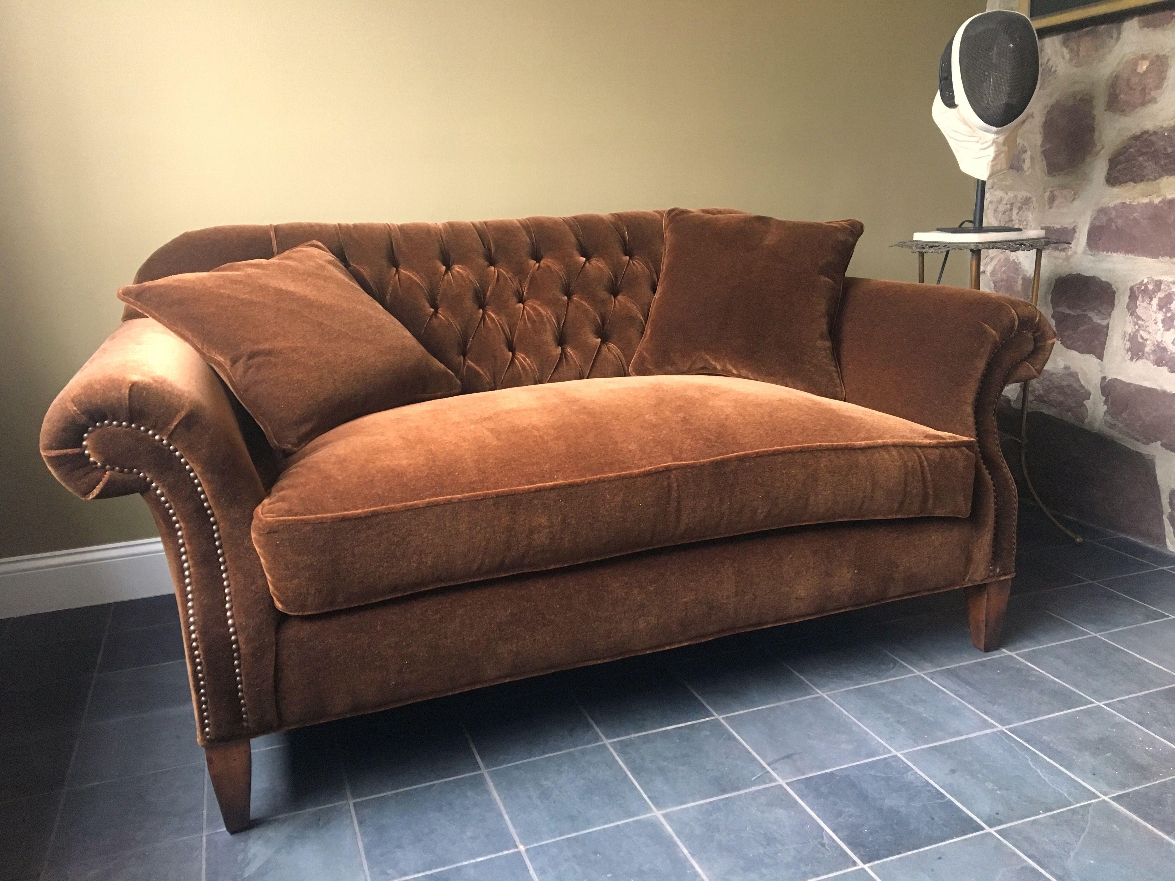 Expertly Upholstered In Espresso Mohair Velvet American Made Furniture