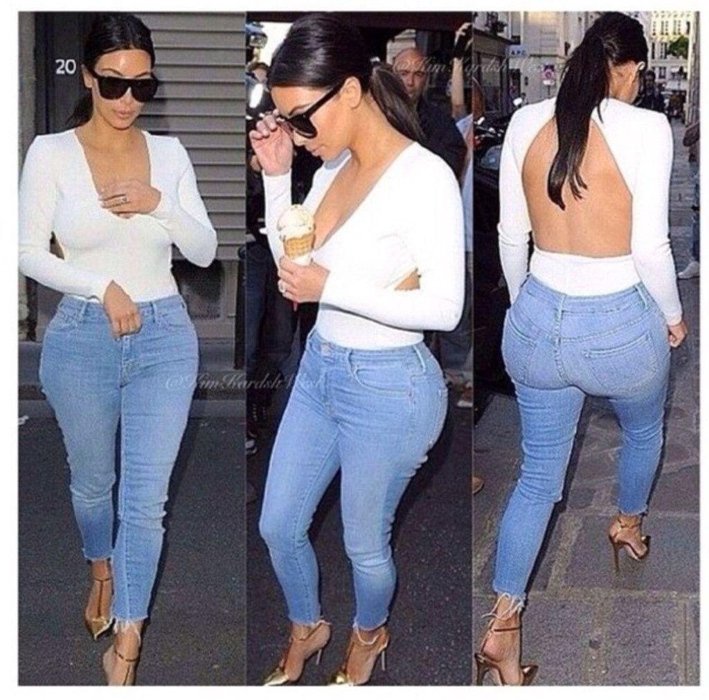 3876a9fe88 Kim Kardashian white long sleeve open back bodysuit