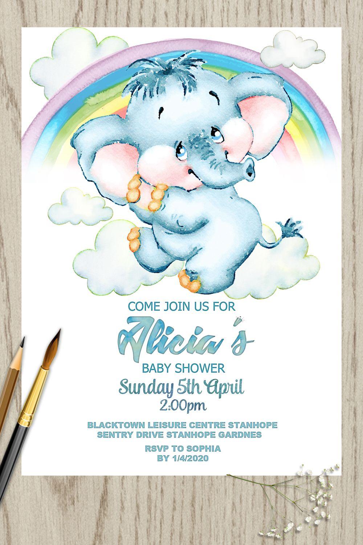 Elephant and rainbow baby shower invitation little baby