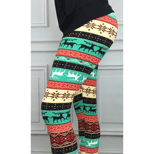 Snowflake Leggings Reindeer Leggings Fairisle Leggings Leggings ...