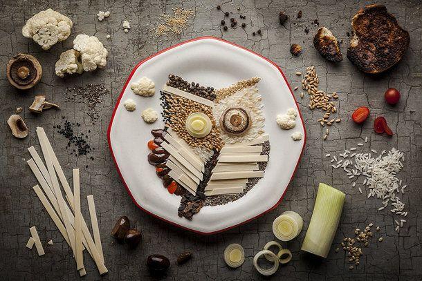 5 geweldige illustraties compleet gemaakt van eten