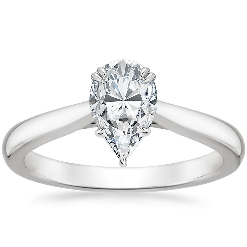 Pear Cut Audrey Solitaire Diamond Engagement Ring - 18K White Gold