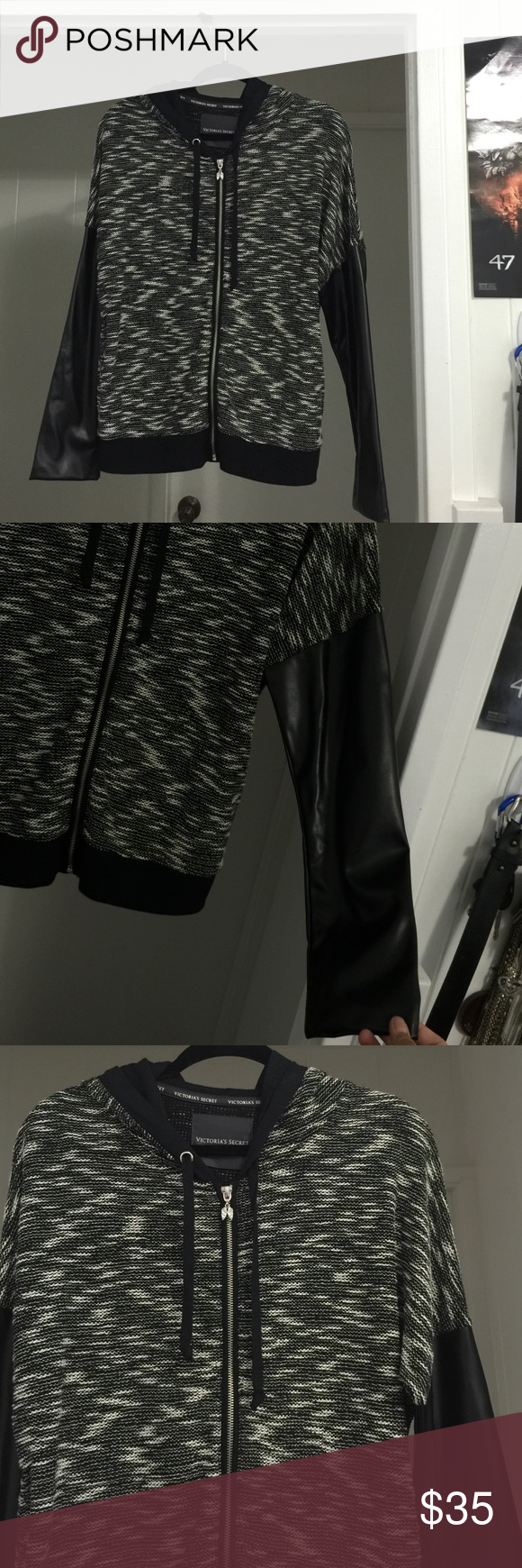 Victoria Secret Sport Wore once. Sleeve is faux leather Victoria's Secret Jackets & Coats