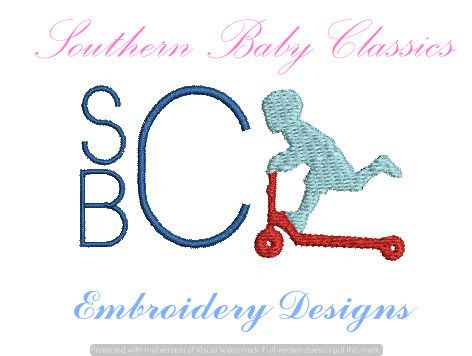 Boy Riding Scooter Toy Vintage Mini Embroidery Design Machine