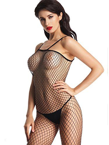 c796ec863 Amoretu Womens Sexy Lingerie Fence Net Bodysuits Crotchless Bodystocking  Black    To view further
