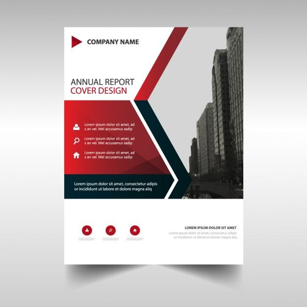 Business Brochure Template With Red Geometric Shapes Free Vector