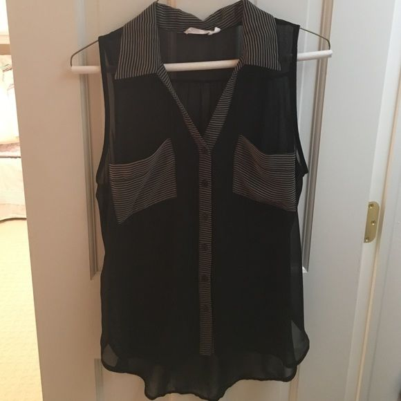 LAST CHANCE Sheer black tank Sheer black button down tank with striped collar and pockets, worn once.  Will ship within 24 hours! Lush Tops Tank Tops