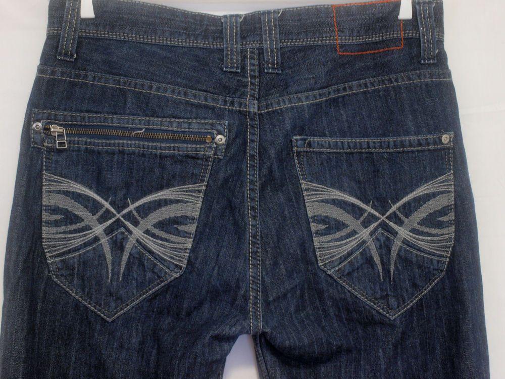 Mens dkny soho jeans embroidered back pocket straight leg