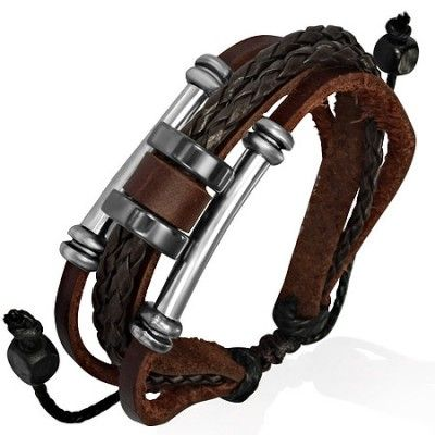 Modern Men's Surfer Style Leather Bracelet In Brown With Steel Bead Design