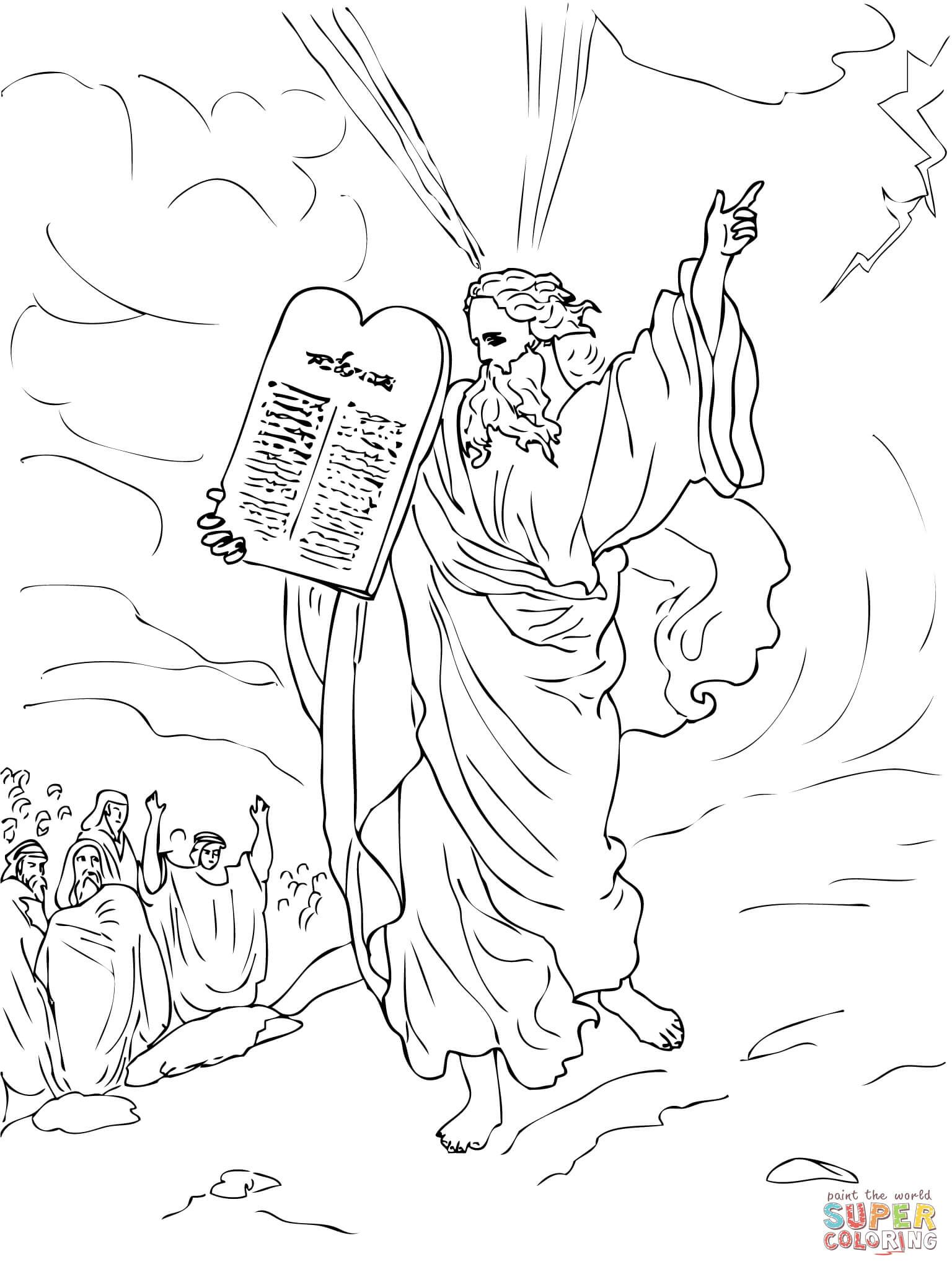 Coloring Sheet The Jews Standing Around Mount Sinai As They Receive The 10 Commandments Coloring Sheets Coloring Pages Printable Coloring Pages