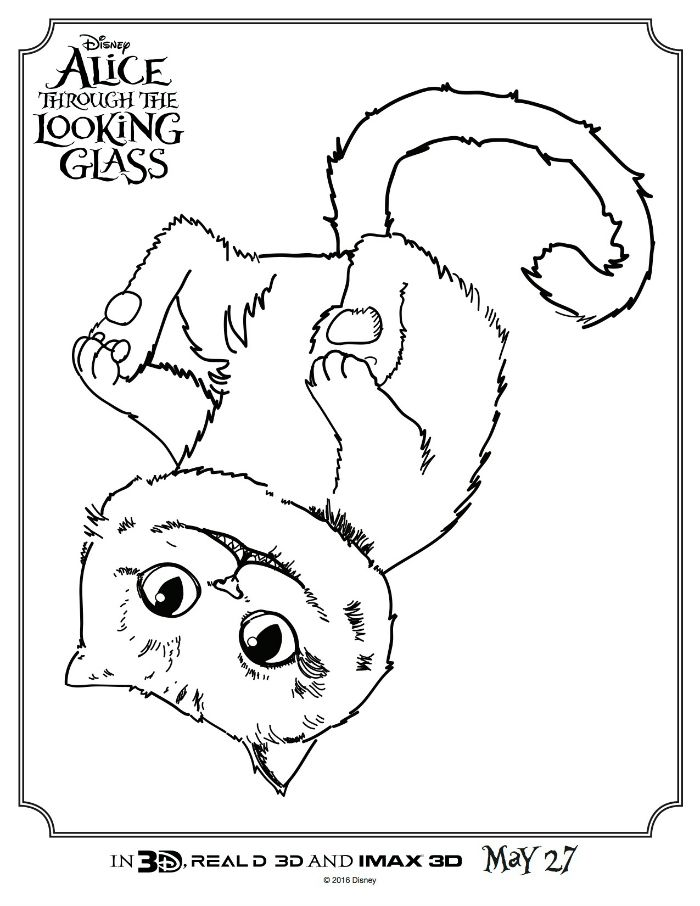 Alice Through The Looking Glass Cheshire Cat Coloring Page | Disney ...